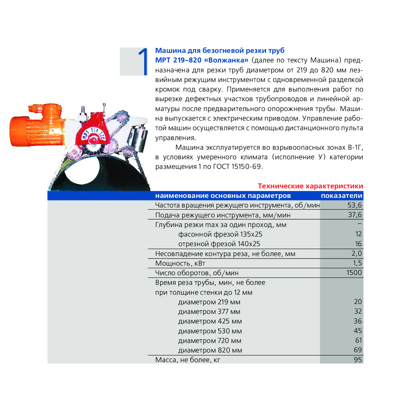 Машина для безогневой резки труб МРТ 219-820 «Волжанка»